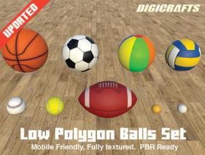 Low Polygon Sport Balls Set
