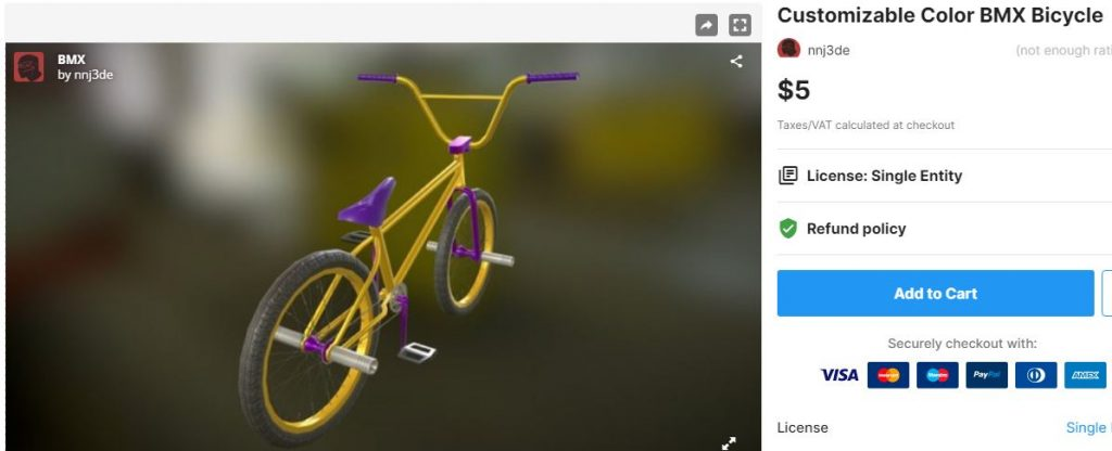 Customizable Color BMX Bicycle– Free Download Unity Assets