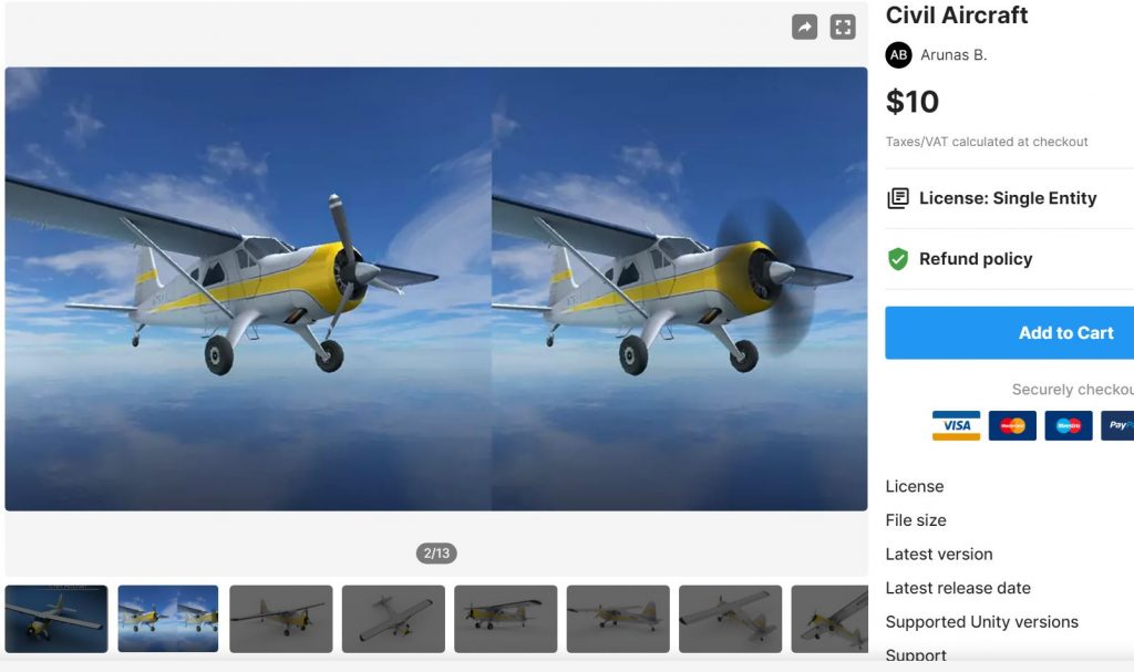 civil aircraft download free unity assets