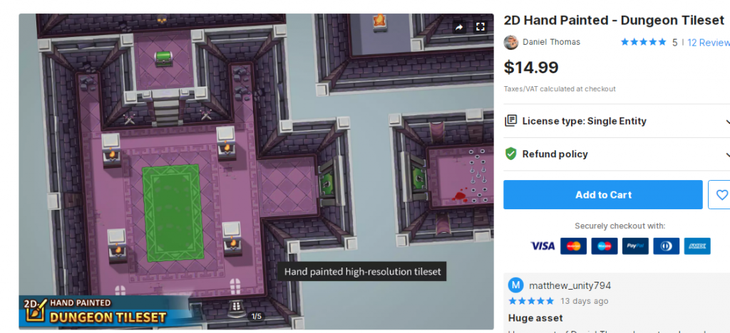 2D Hand Painted - Dungeon Tileset – Free Download Unity Assets