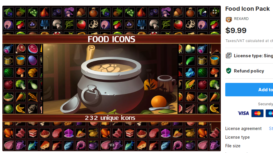Food Icon Pack – Free Download Unity Assets