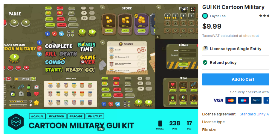 GUI Kit Cartoon Military – Free Download Unity Assets