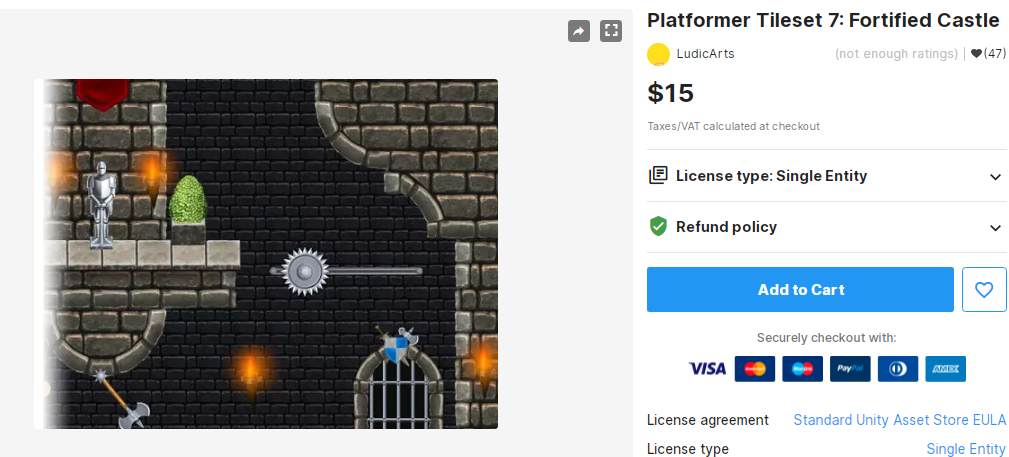 Platformer Tileset 7 Fortified Castle– Free Download Unity Assets